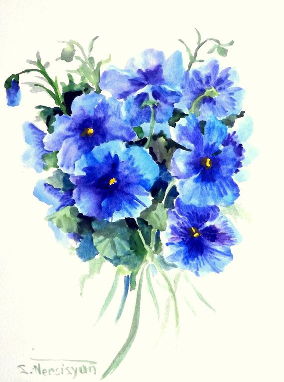 Pansies Original Watercolor Painting Blue Purple By Originalonly