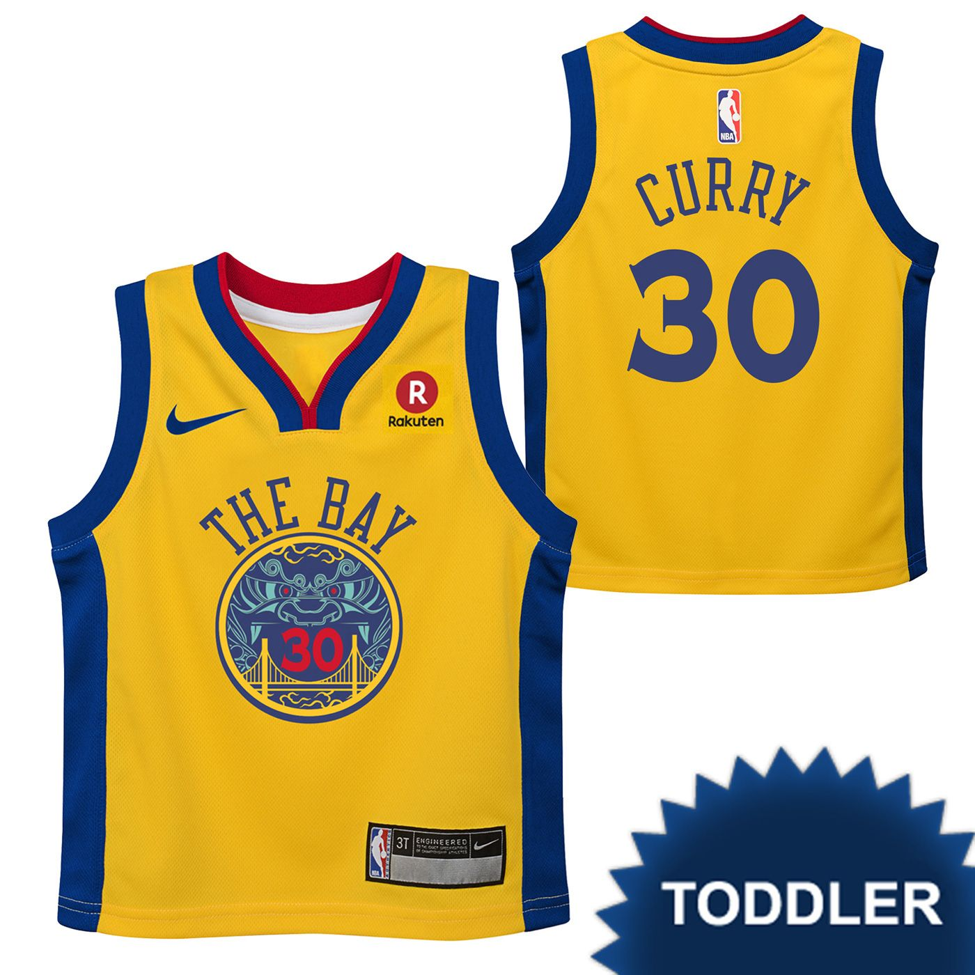 3eaa62907b6 Golden State Warriors Nike Dri-FIT Toddler Chinese Heritage 'The Bay'  Stephen Curry  30 Replica Jersey - Gold
