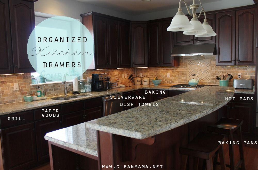 Organized Kitchen Drawers Via Clean Mama