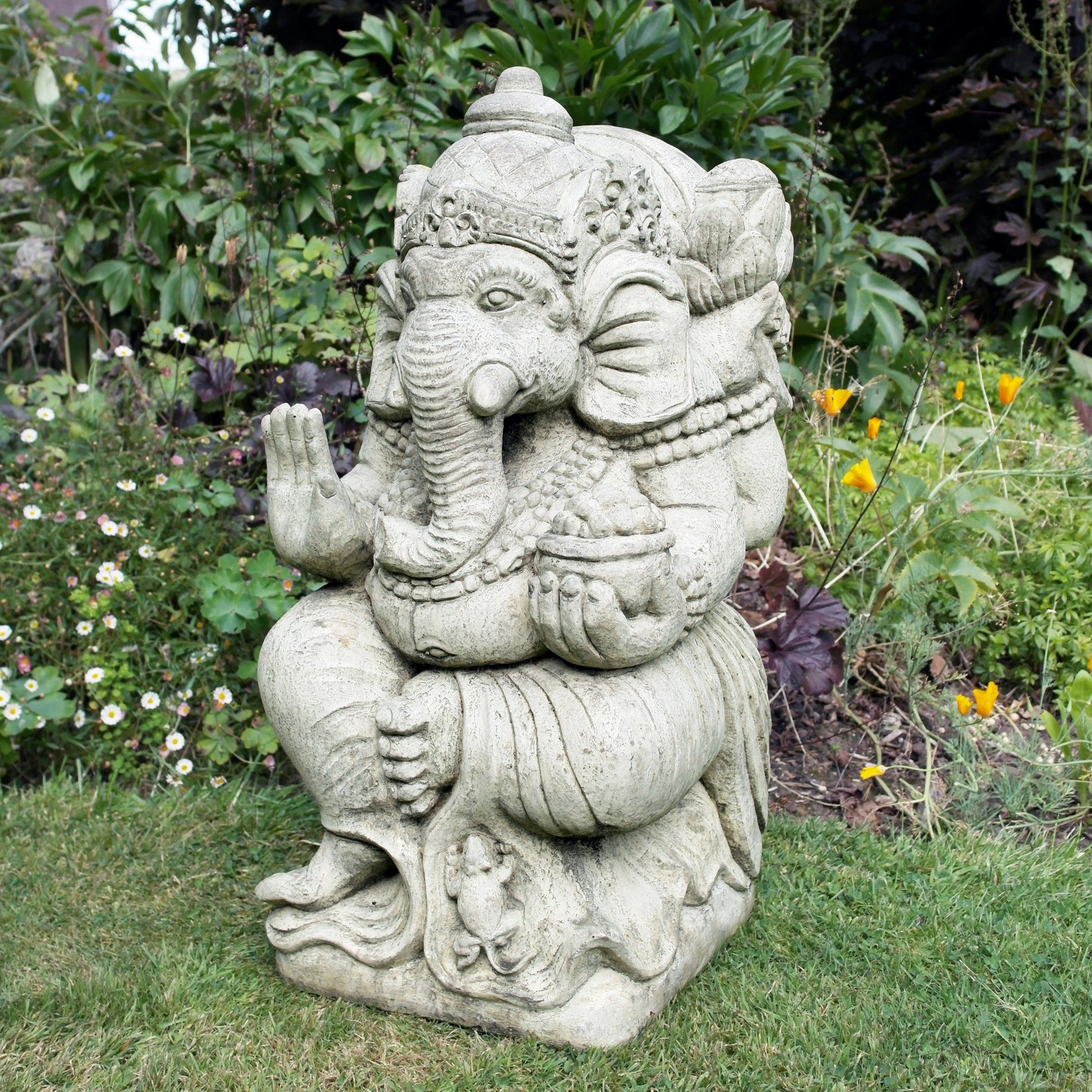 Ganesh Stone Buddha Ornament Large Garden Statue Buy now at http