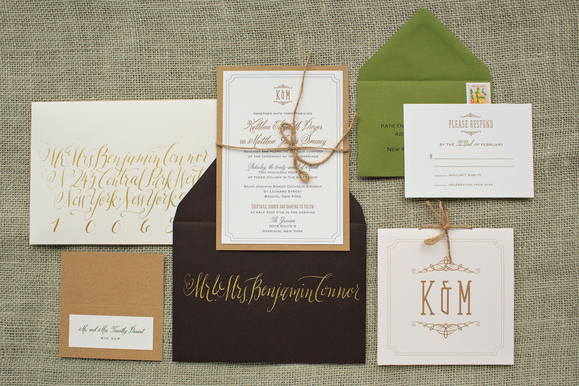 A Rustic And Whimsical Letterpress Invitation Suite Layered On Natural Woodgrain Tied Together With Burlap Bow Complete Dark Brown Moss