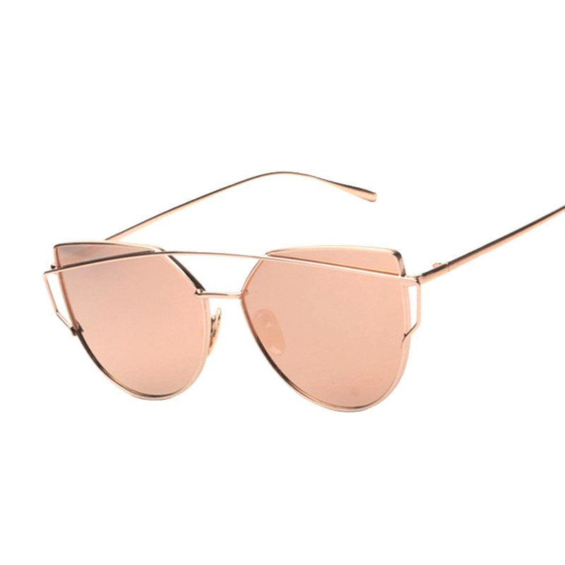 35b332fe75d4 Cat eye Women Sunglasses 2017 New Brand Design Mirror Flat Rose Gold Vintage  Cateye Fashion sun glasses lady Eyewear UV400 Eyewear Type  Sunglasses Item  ...
