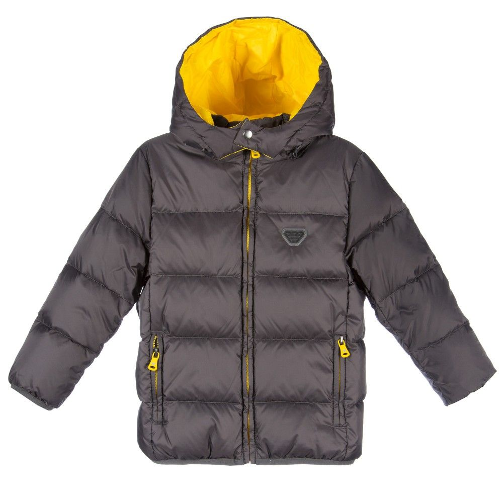 21de0a3ee Armani Boys Grey Down Padded Puffer Jacket with Hood at ...