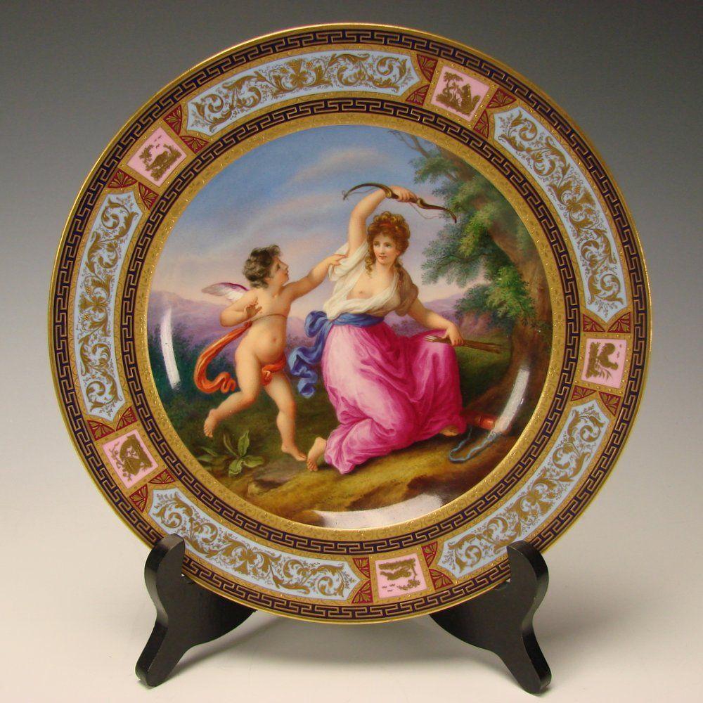 Antique 19c Royal Vienna Hand Painted Porcelain Venus And Amor Plate Plates Porcelain