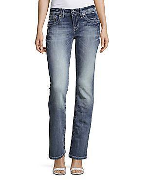 Miss Me Washed Five-Pocket Jeans - Medium Blue - Size