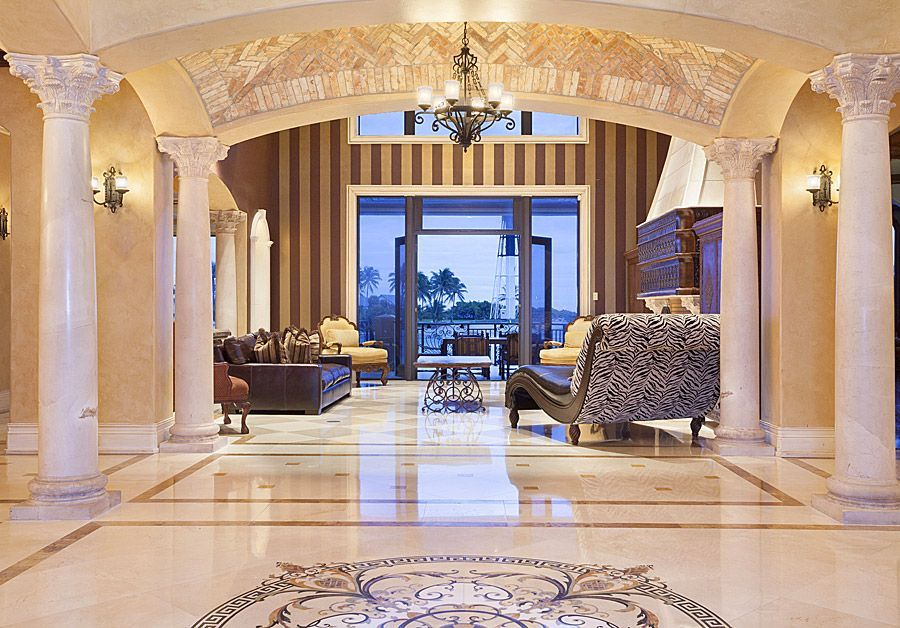 Living Room In Mediterranean Style With A Polished Marble Floor Inspiration Living Room Marble Floor Decorating Design