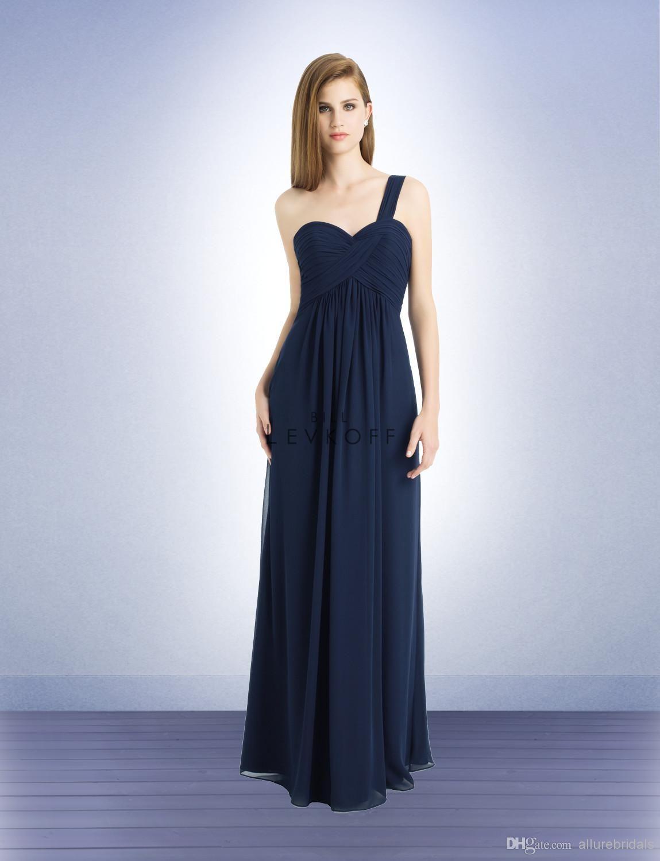 Wholesale bridesmaid dress buy perfect dark navy one shoulder long