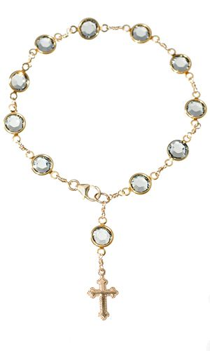 Clear glass heart rosary beads necklace gold tone chain