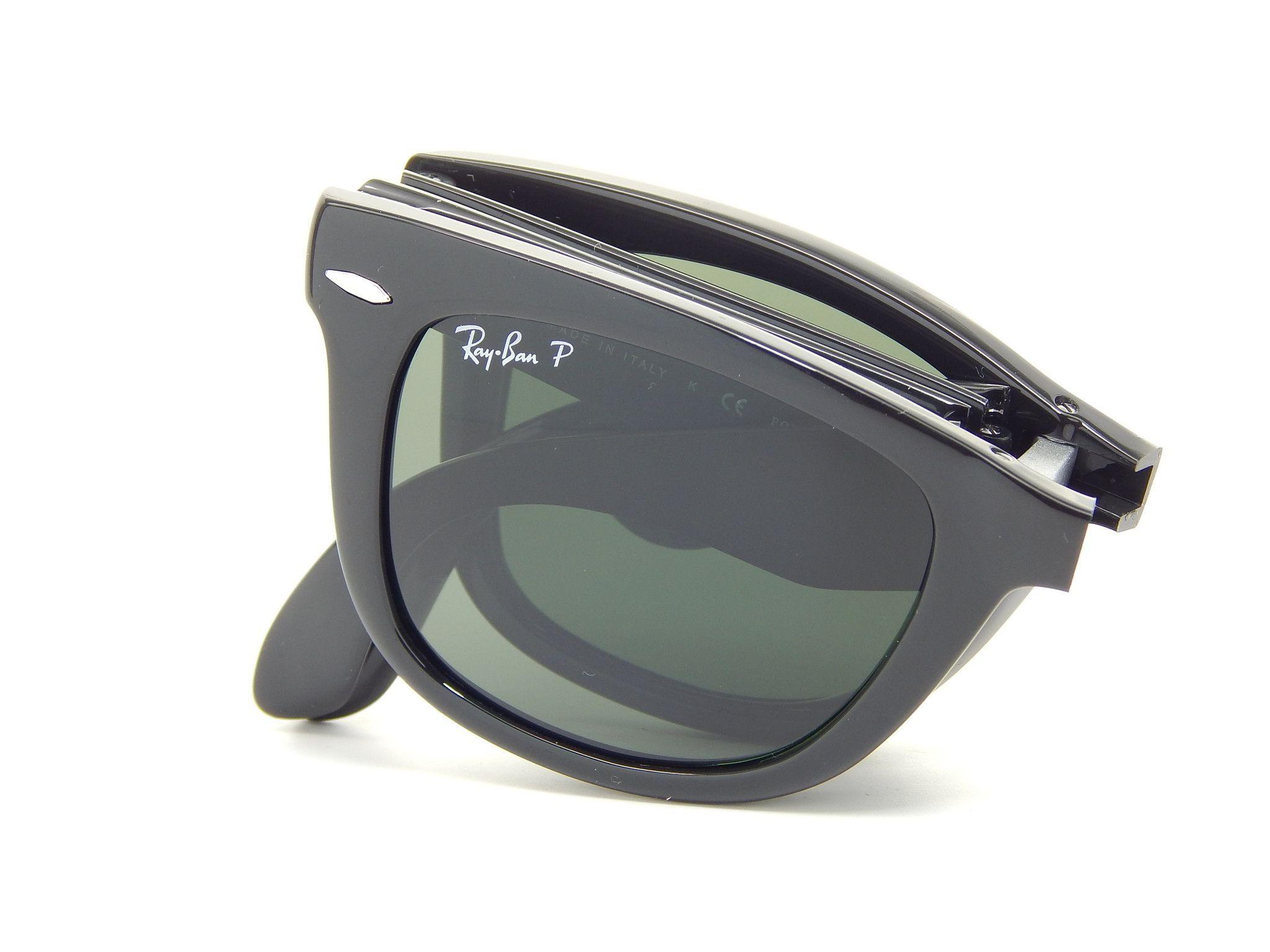 7181bc06d35ae Ray Ban Folding Wayfarer RB4105 601 58 Black Green Classic G-15 54mm  Polarized Sunglasses