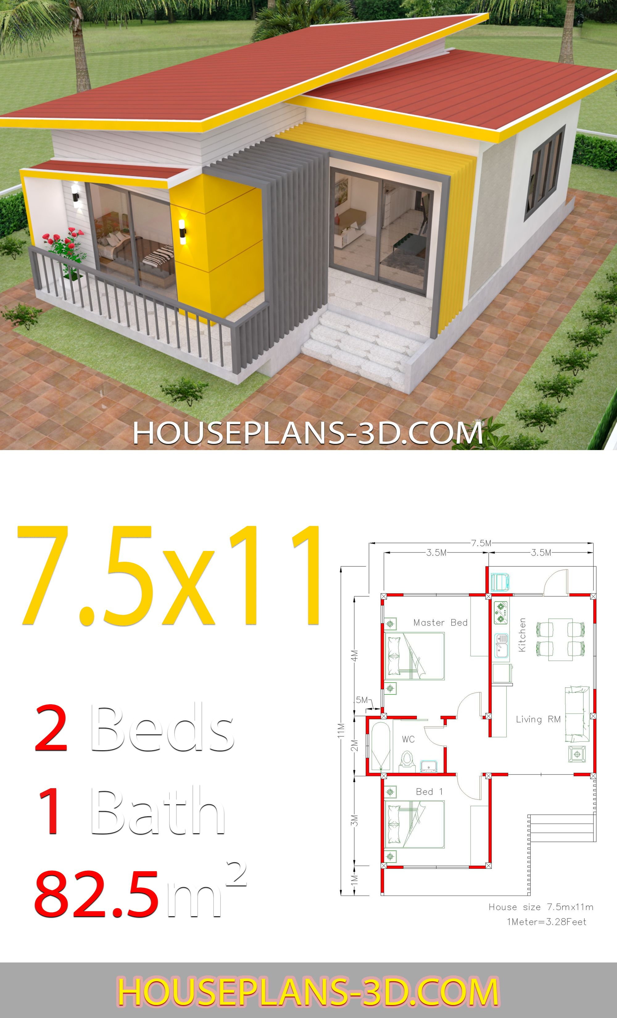 House Plans 7 5x11 With 2 Bedrooms Full Plans House Plans 3d In 2020 House Plans Small House Design Plans Small House Design