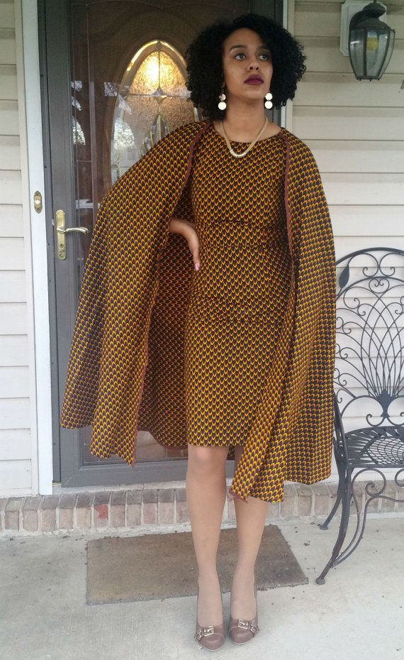 Ankara Cape Dress by Africandressshop on Etsy