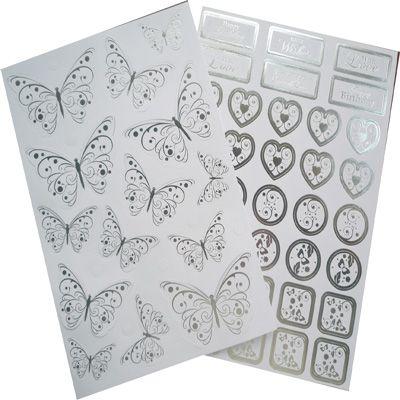 Die Cut Butterflies Embellishments Sentiments Silver Foil On