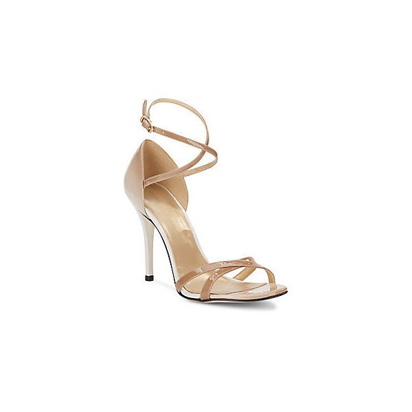 Stuart Weitzman Livia Patent Leather Sandals ($210) ❤ liked on Polyvore featuring shoes, sandals, sand, stuart weitzman sandals, patent sandals, strap sandals, sexy sandals and strappy sandals