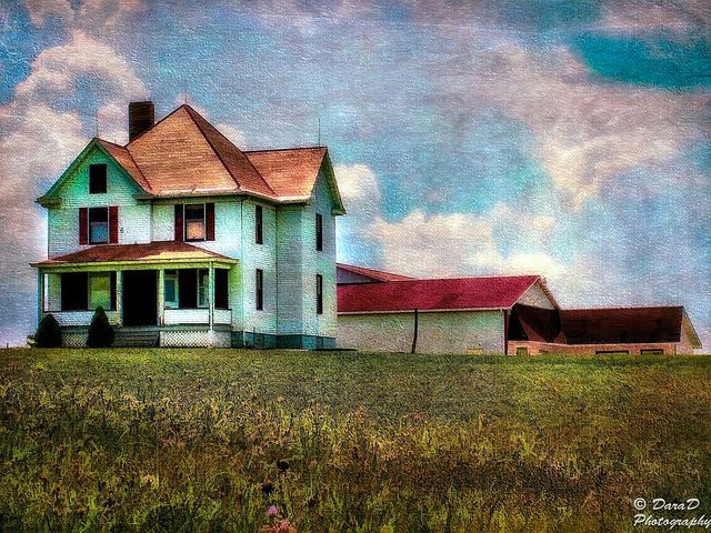 Farmhouse On The Hill by DaraDPhotography, via Flickr
