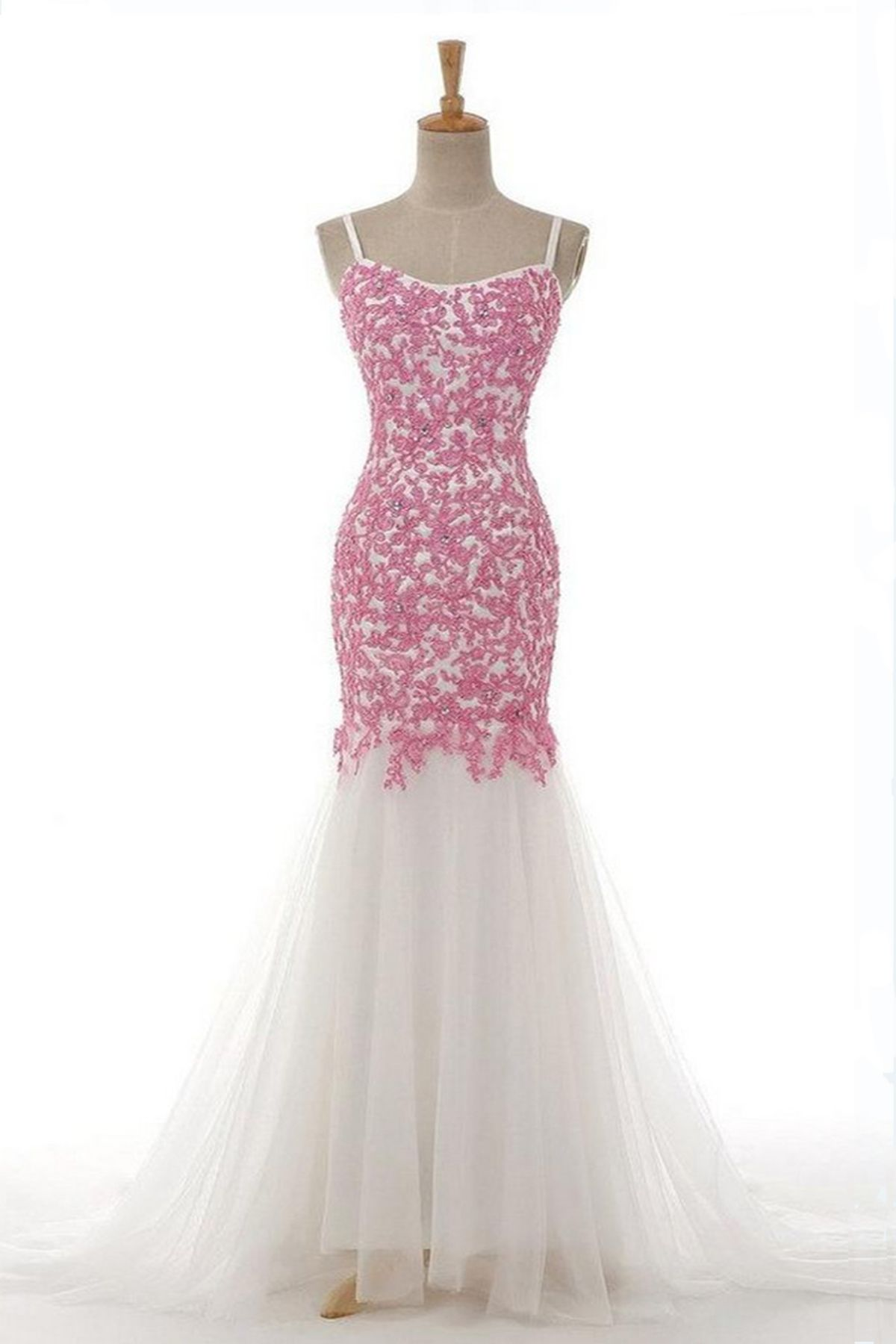 Elegant white tulle long mermaid spaghetti straps evening dress ...