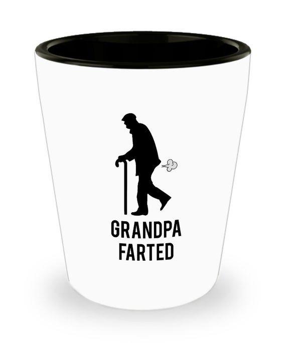 Grandpa farted shot glass, Grandpa gift idea, Gift for Grandpa, Funny gift idea