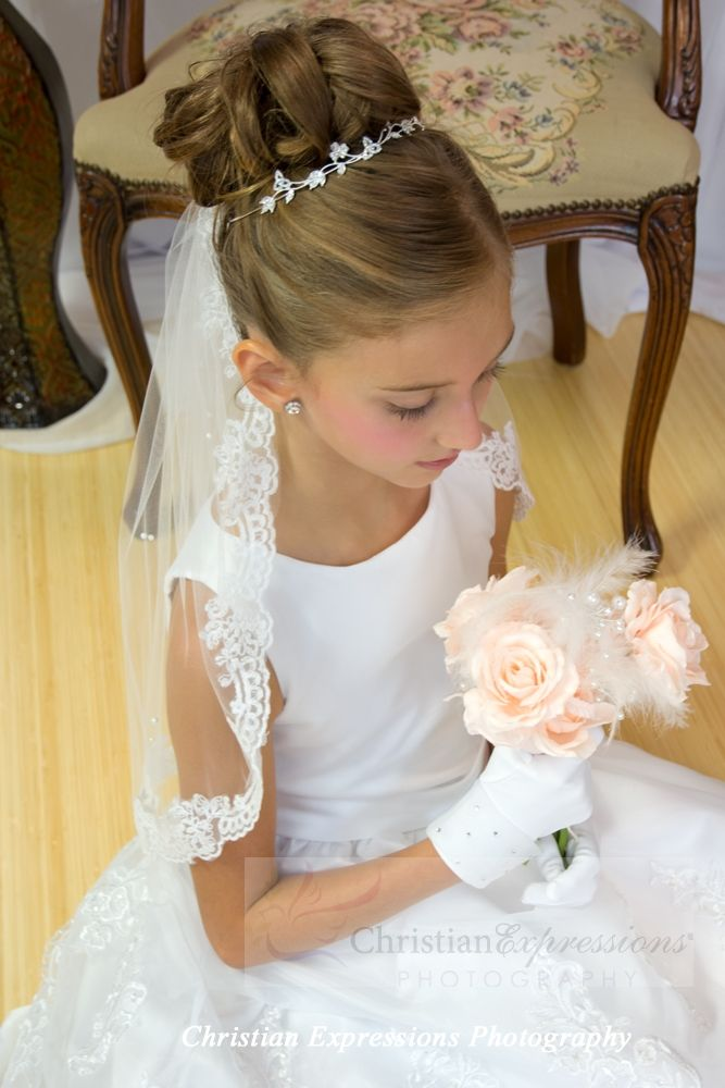 First Communion Lace Mantilla with Pearl Accents (tiara sold separately) http://www.firstcommunions.com/first-communion-veils/first-communion-lace-mantilla.html
