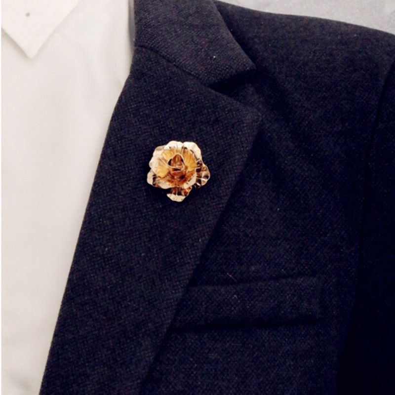 rose Gold Plated Rose Flower Brooch Men suit collar Accessories ...