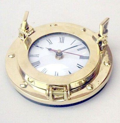 NAUTICAL NAVIGATION MARINE Brass SHIP PORTHOLE Battery Quartz WALL CLOCK