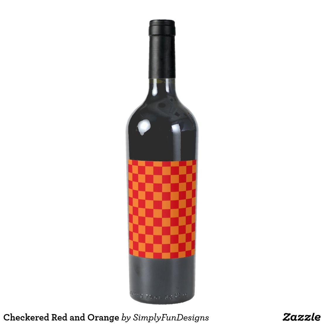 Checkered Red And Orange Wine Label Wine Wedding Favors Red Wine Labels Wine Label Design