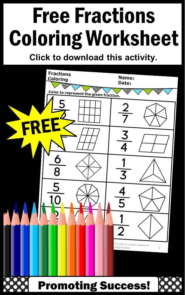 You Will Download A Free Math Worksheet For 1st 2nd Grade 3rd Grade Or Special Education St 3rd Grade Fractions Fraction Activities Introduction To Fractions [ 1172 x 735 Pixel ]