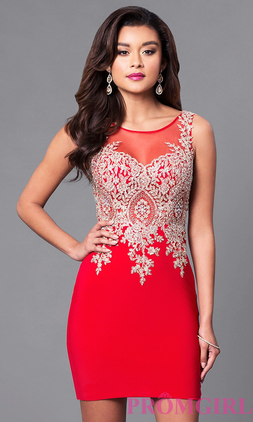 Image of illusionsweetheart sheerback homecoming dress front