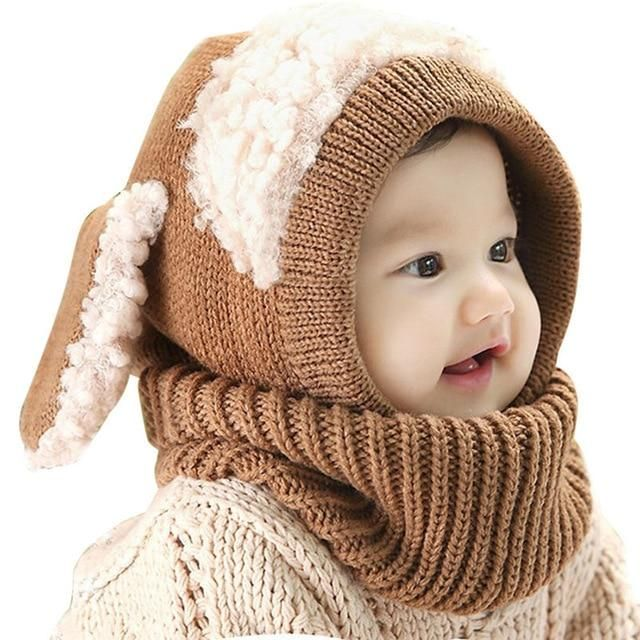 Warm Cap Baby Hat Hooded Knitted Scarf Set Hats For Girls