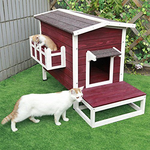 Petsfit Outdoor Cat Shelter Large Cat House Condo With Shelter Condo Dieren