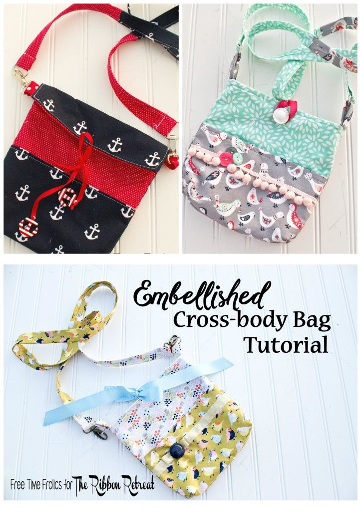 Embellished Cross-body Bag Tutorial | Fabric Crafts | Pinterest | Bolsos