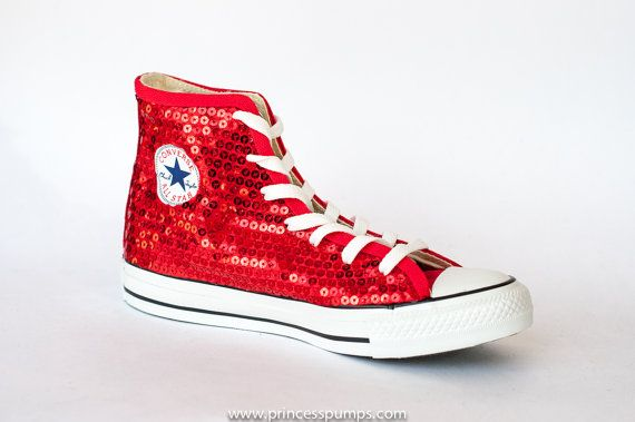 6a8f1e66a46 Sequin - Hand Sparkled Red Canvas Converse Hi Top Sneakers Shoes ...
