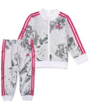 8fe51eed4e1 adidas Toddler Girls 2-Pc. Printed Bomber Jacket & Pants Set - White ...