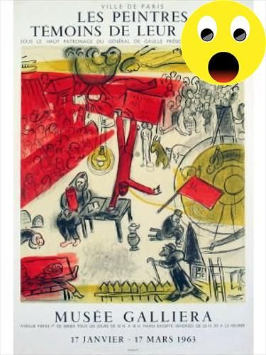 "#eyesonwalls Marc Chagall- The #Revolution: Poster created for the annual exhibition, ""Painters, witness of their time"", at the Galliera Museum, Paris. The repro..."