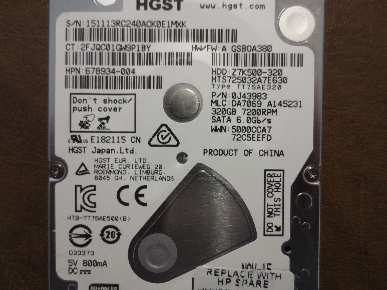 "Hitachi HGST hts725032A7E630  320Gb 2.5/"" Sata Laptop hard Drive"