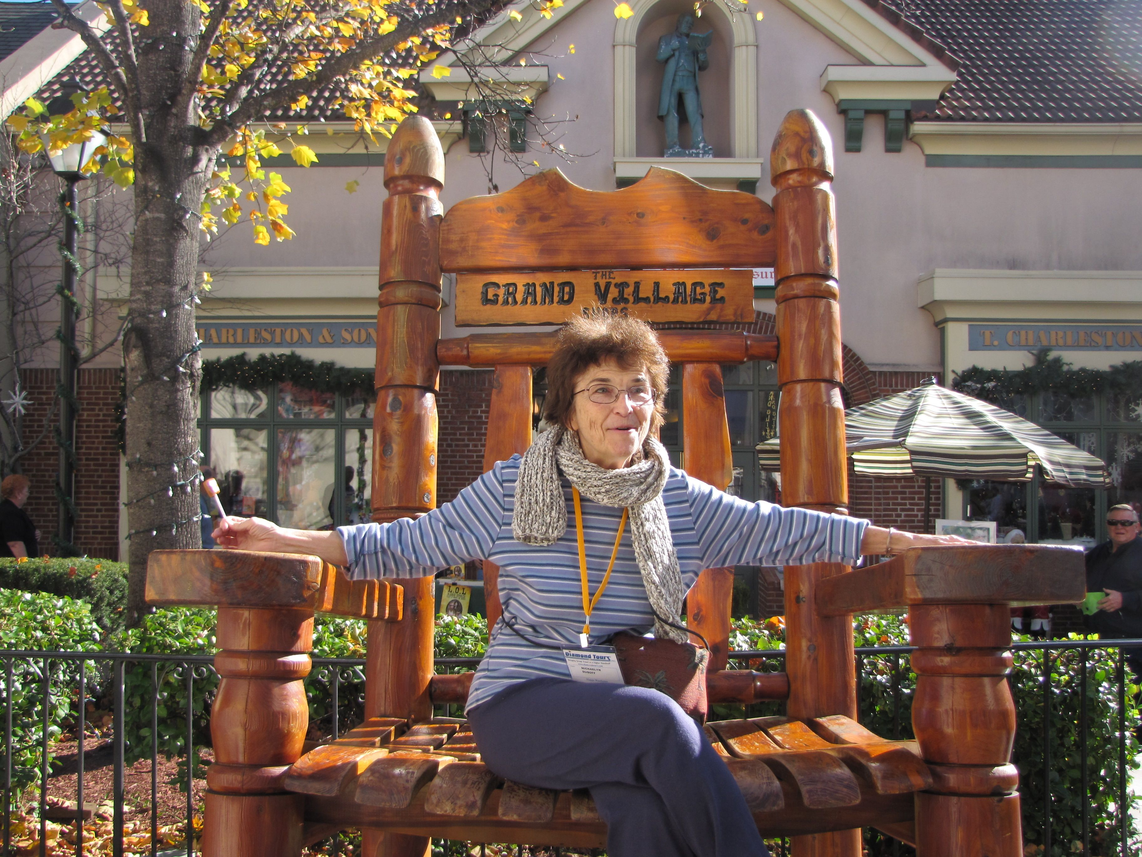 Lady in giant chair