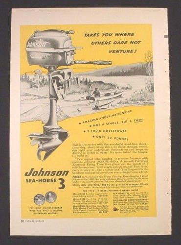 Magazine Ad for Johnson Sea-Horse 3 Outboard Motor, One