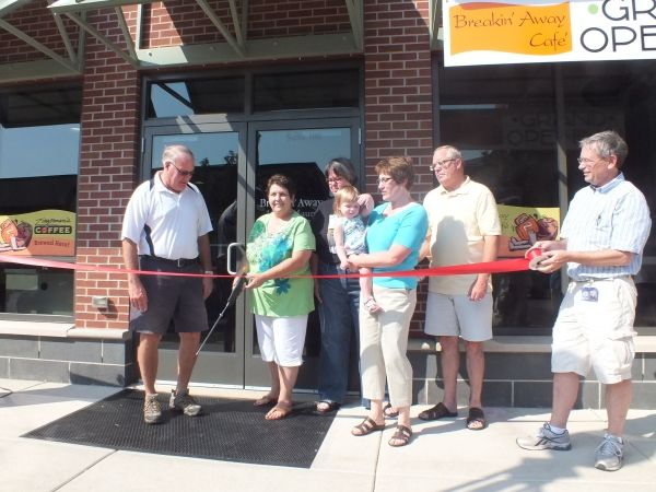 The New Breakin Away Cafe In The Adrian Public Library Snipped The Official Ribbon During The First Friday Events Au Chris Miller Carole Economic Development
