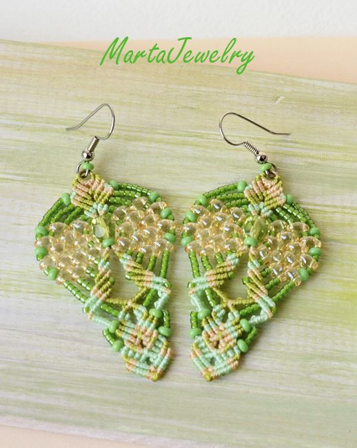 Unique macrame earrings with SuperDuo beads by MartaJewelry