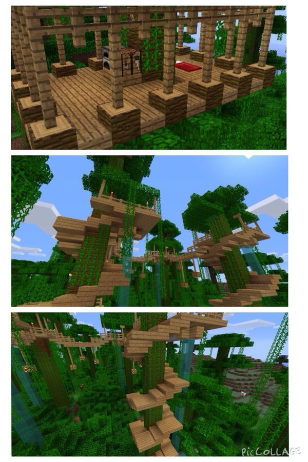 minecraft jungle treehouse blueprints