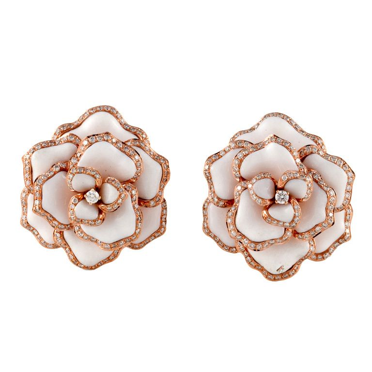Rose Gold Flower Earrings | Love Affair with Jewels | Rose ...