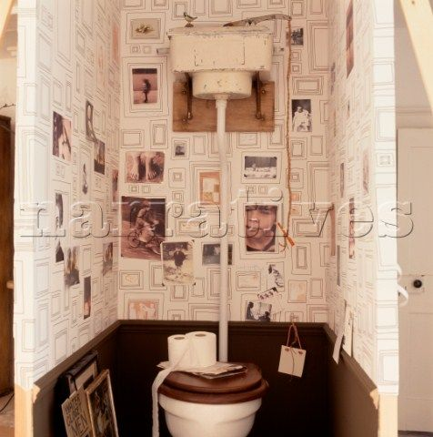Fun Wallpaper And Pictures In A Vintage Downstairs Toilet