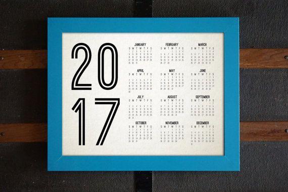 2017 Printable Minimalist Calendar, One Page Calendar, Letter-Sized, 11x14, PDF, JPEG