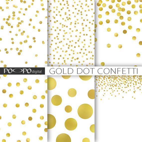 Gold dot confetti digital paper polka dots sparkle Christmas gold ...