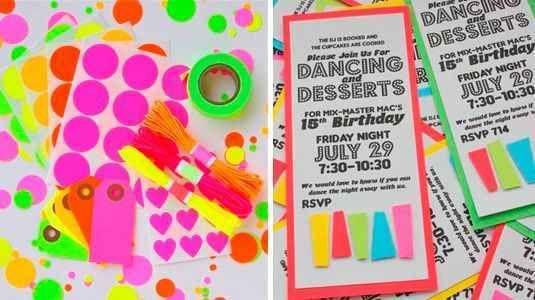 Tarjetas De Invitaciones De 15 Años En Neon 2 Fiesta