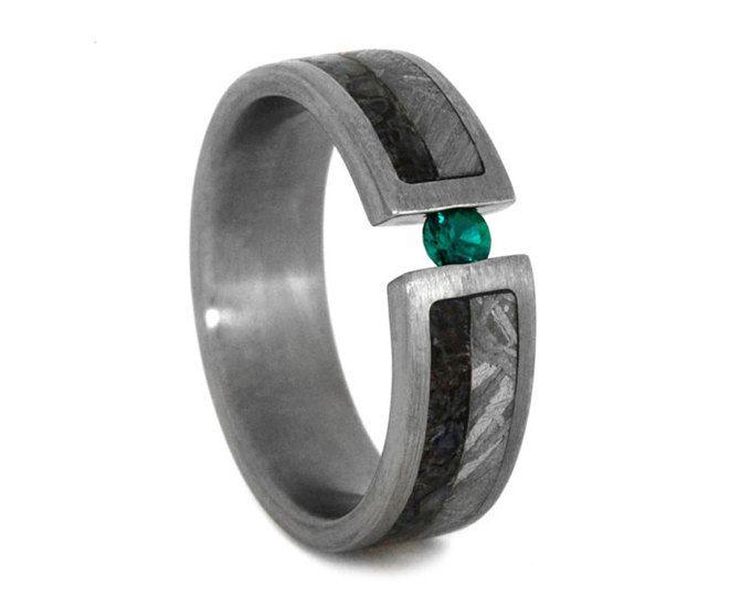 Emerald Wedding Band Or Mens Engagement Ring Titanium Ring With Dinosaur Bone And Meteorite Inlays T Garnet Wedding Rings Garnet Wedding Emerald Wedding Band