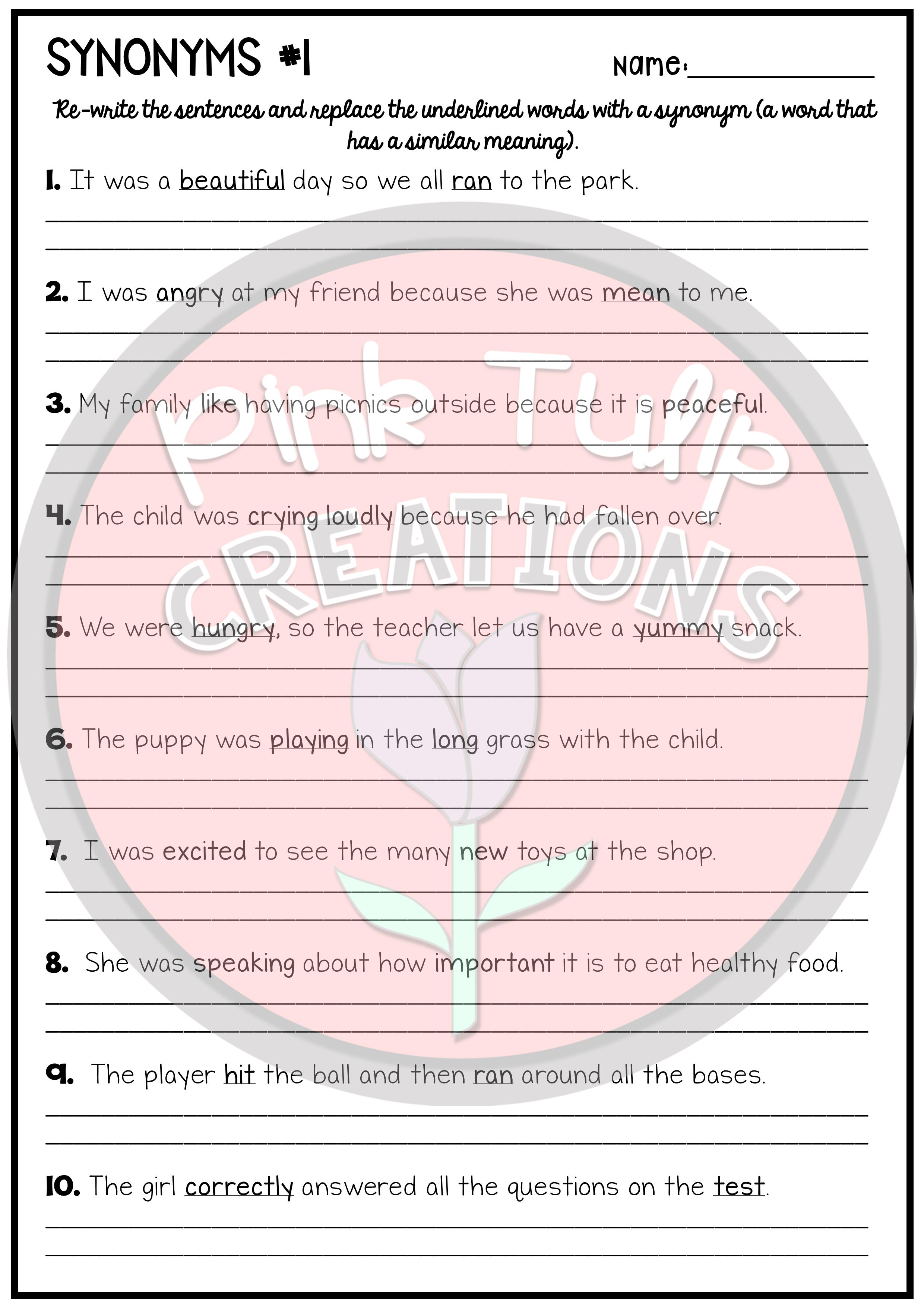 Find A Synonym - Worksheet Pack | cvc words | Synonym