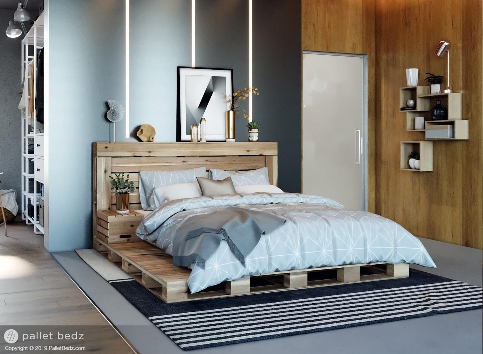 Pallet Bed The Oversized Queen Includes Headboard and
