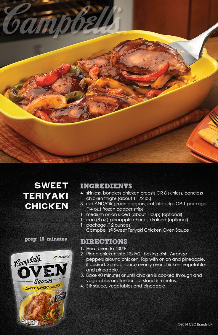 Sweet Teriyaki Chicken Campbell S Dinner Sauces Campbellssauces Sponsored Food Recipes