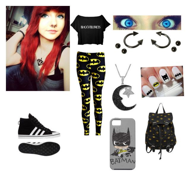 """""""Batman rebel"""" by bvbbiersackgirl05 ❤ liked on Polyvore featuring beauty, adidas and Jewel Exclusive"""