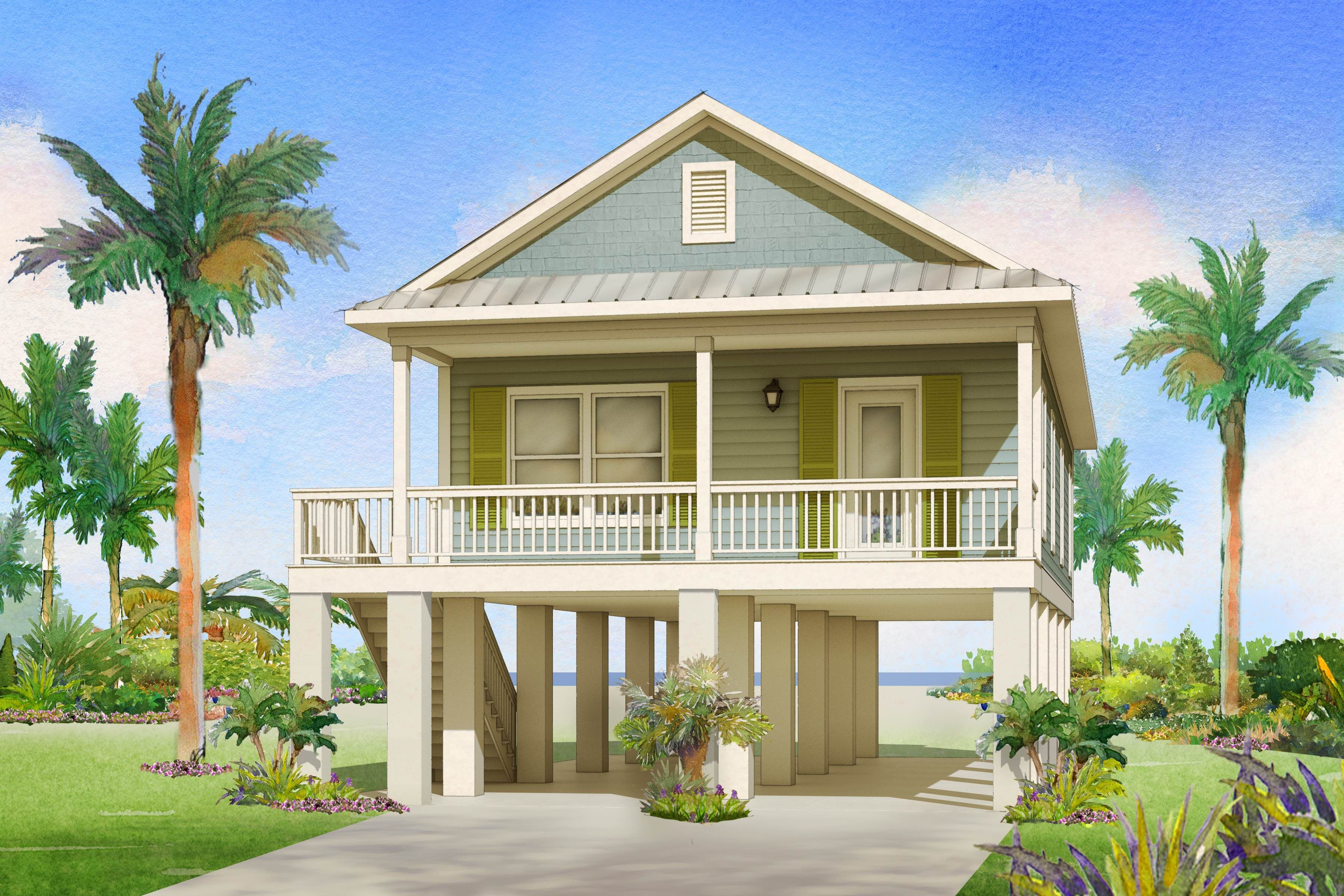 The Perfect Beach Home By Affinity Building Systems Llc The Fish Hawke Is Perfect For Your Next B Beach Cottage House Plans Stilt House Plans House On Stilts