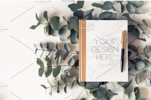 marble note mockup with eucalyptus powerpoint templates